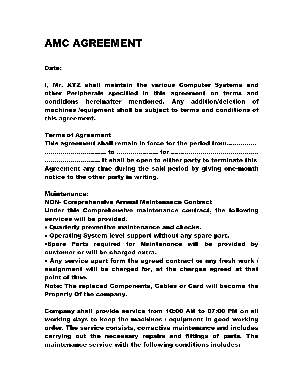 Annual Maintenance Contract Letter Format Sample Letterjdi