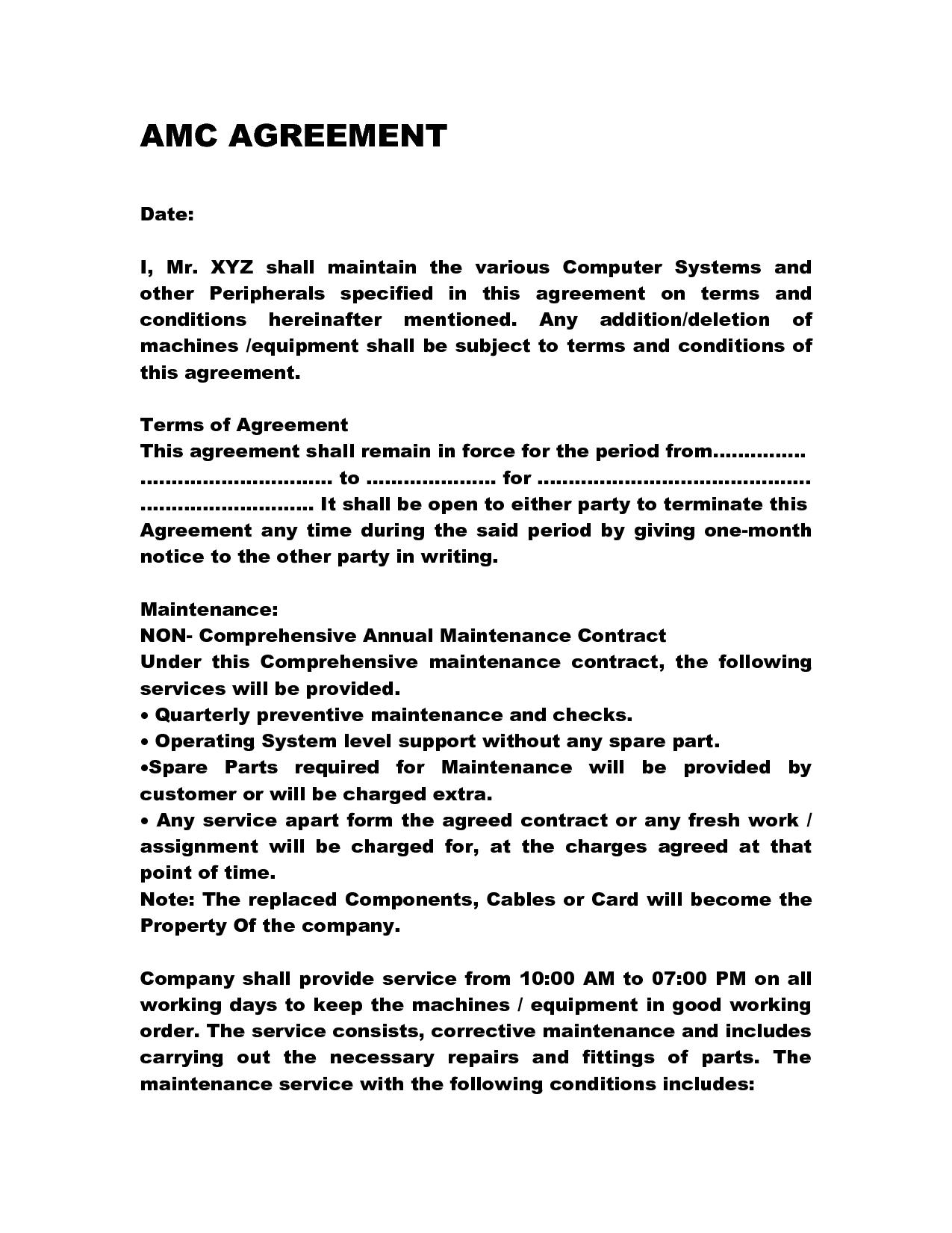 Annual Maintenance Contract Doc By Anks13 Computer Maintenance Rh Pinterest  Com Proposal Contract Template Sample Contract Proposal Template
