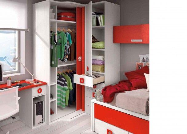 Dormitorio juvenil con armario rinconero coisas que for Armarios para habitaciones pequenas