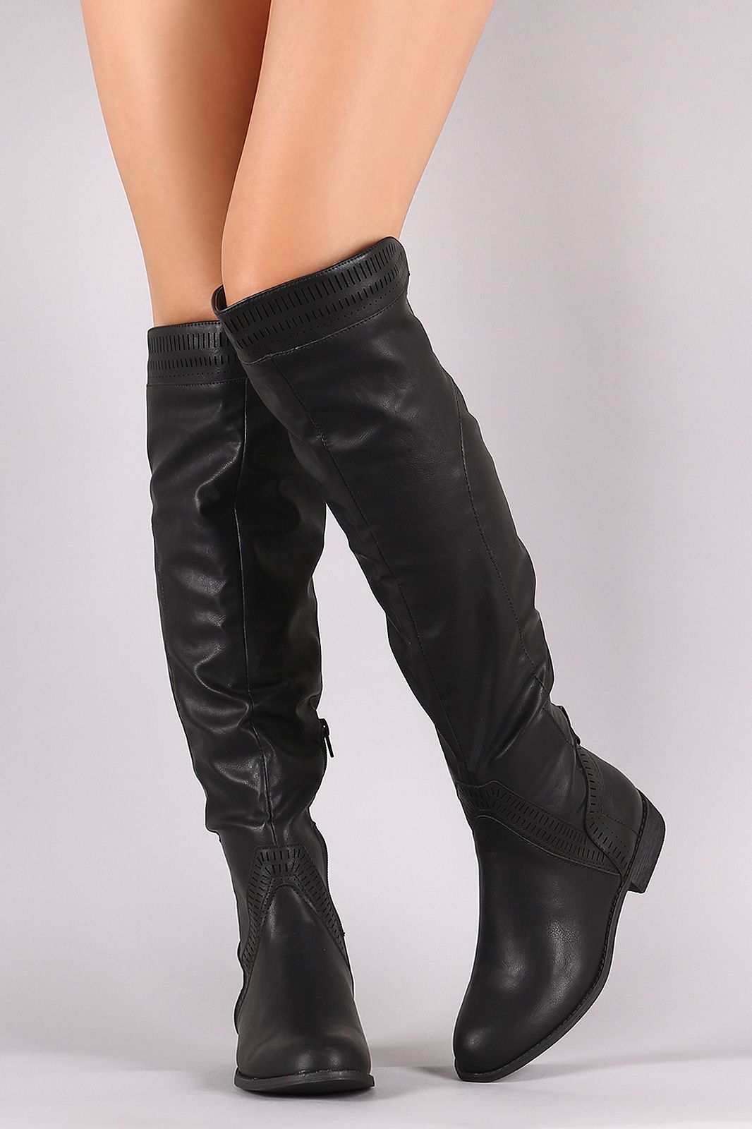 730c1c056d2 Perforated Riding Over-The-Knee Boots