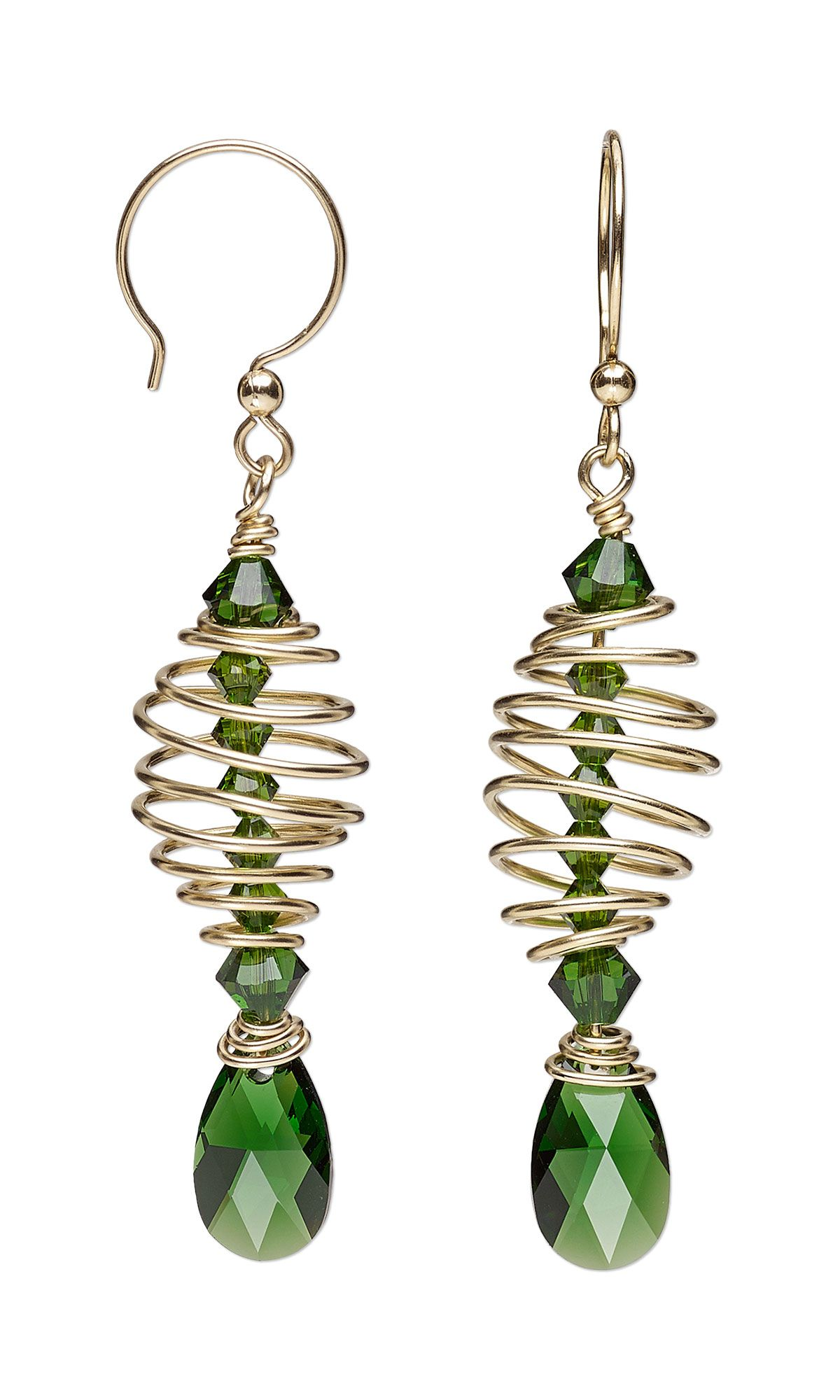 Jewelry Design - Earrings with Swarovski Crystal and Wirework - Fire ...