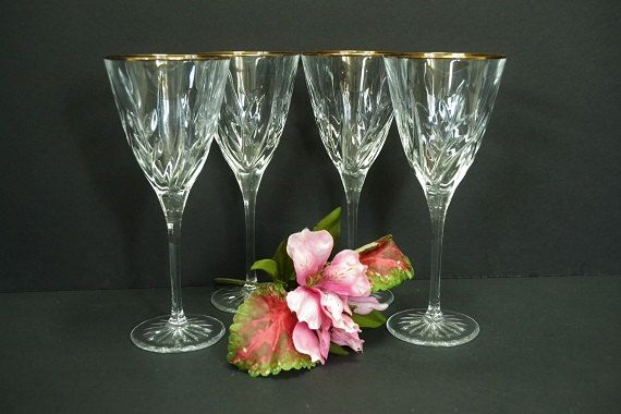 Vintage Cut Glass Wine Glasses by ChezumsTreasures on Etsy
