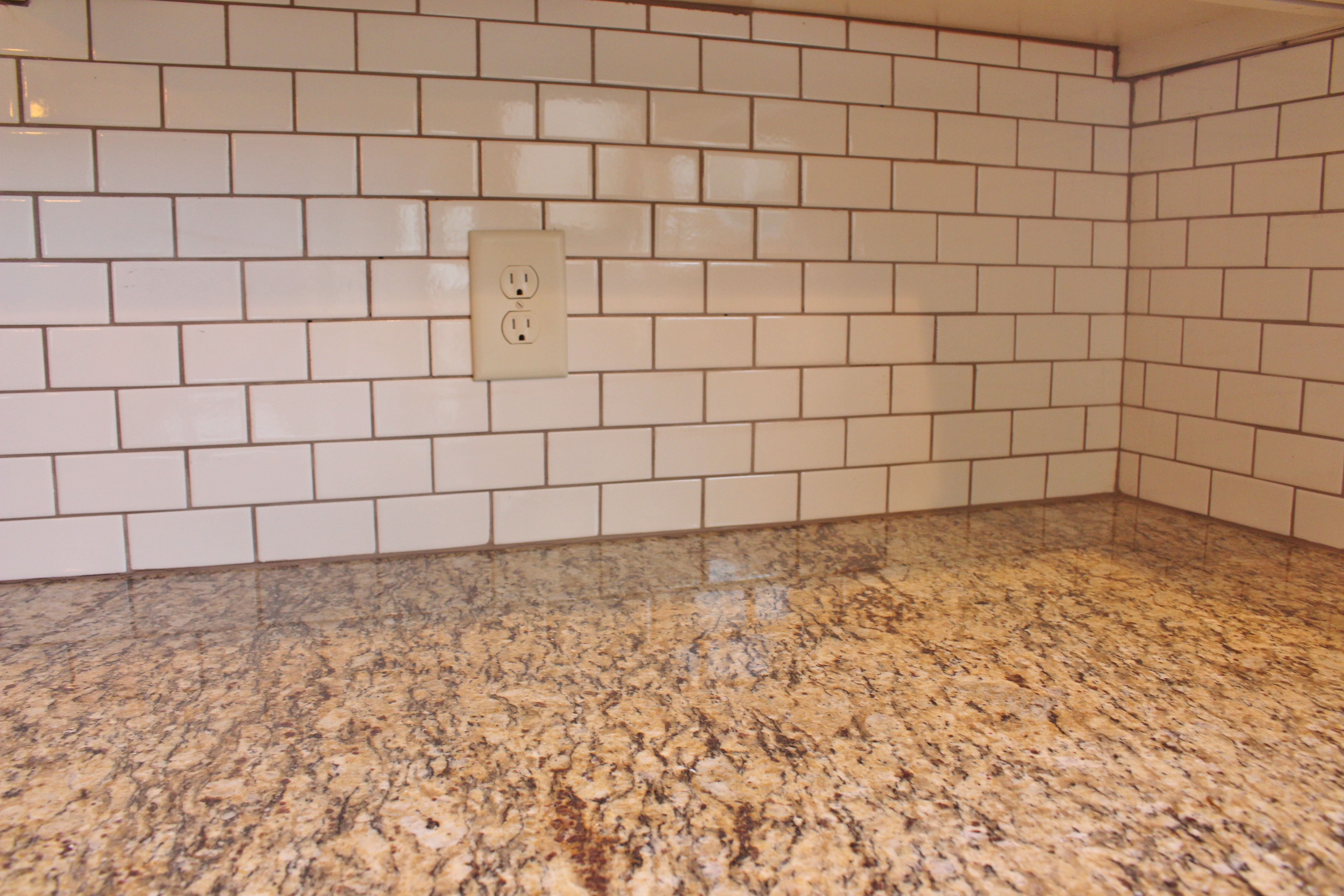 White Subway Tile With Mocha Grout Cheap Kitchen Remodel Kitchen Remodel Small Simple Kitchen Remodel