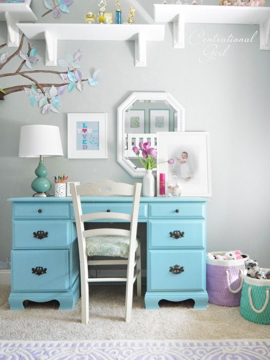 Desk For Girls Bedroom Mesmerizing Centsational Girl » Blog Archive Lavender  Blue Girl's Room Decorating Inspiration