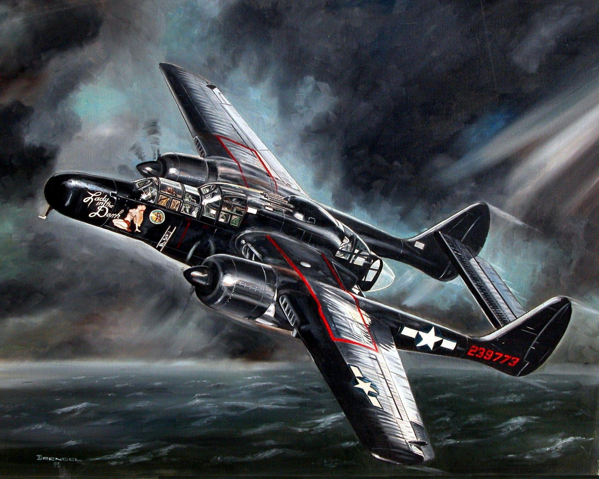 Обои p-61, ww2, black widow, painting, истребитель, P-61 black widow, aircraft art. Авиация foto 12