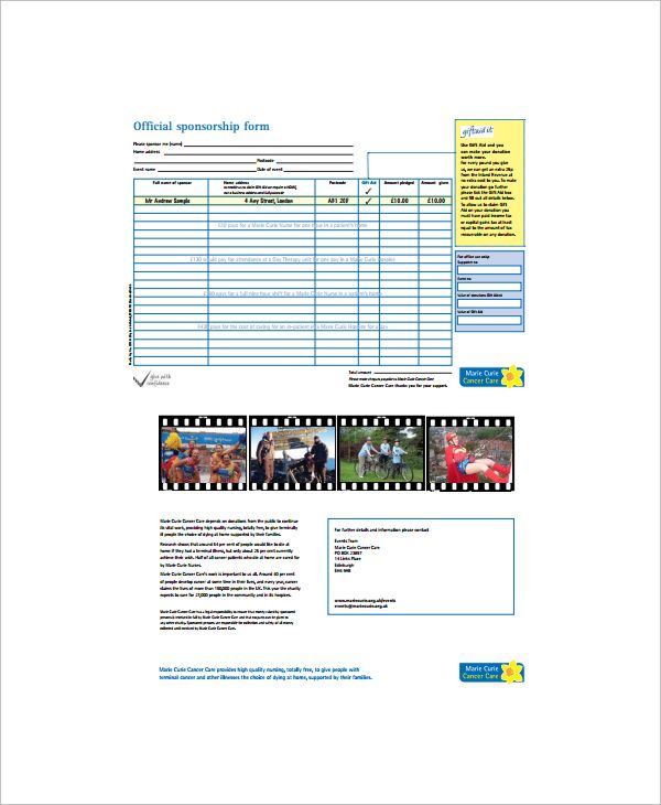 10 Sponsorship Form Templates Word Excel PDF Templates www
