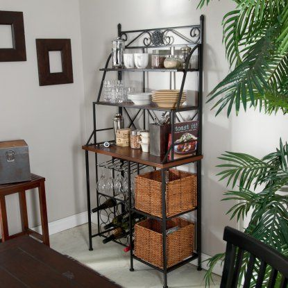 Belham Living Solano Bakers Rack With Baskets Dining Room Storage