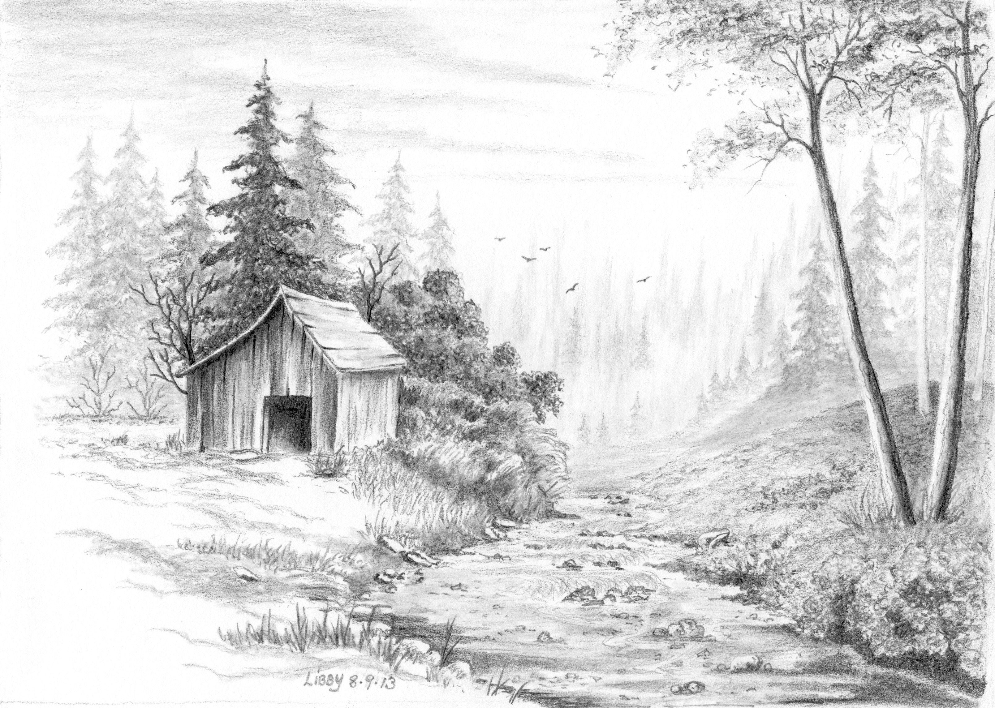 My attempt at drawing from a Bob Ross painting. Pencil on ...