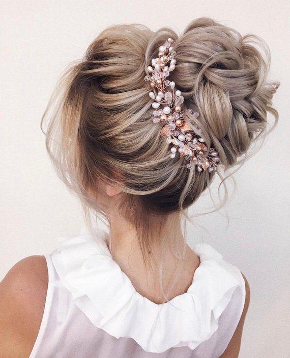 Photo of Rose gold bridal Hair Vine -Wedding hair vine, Bride hair ac…