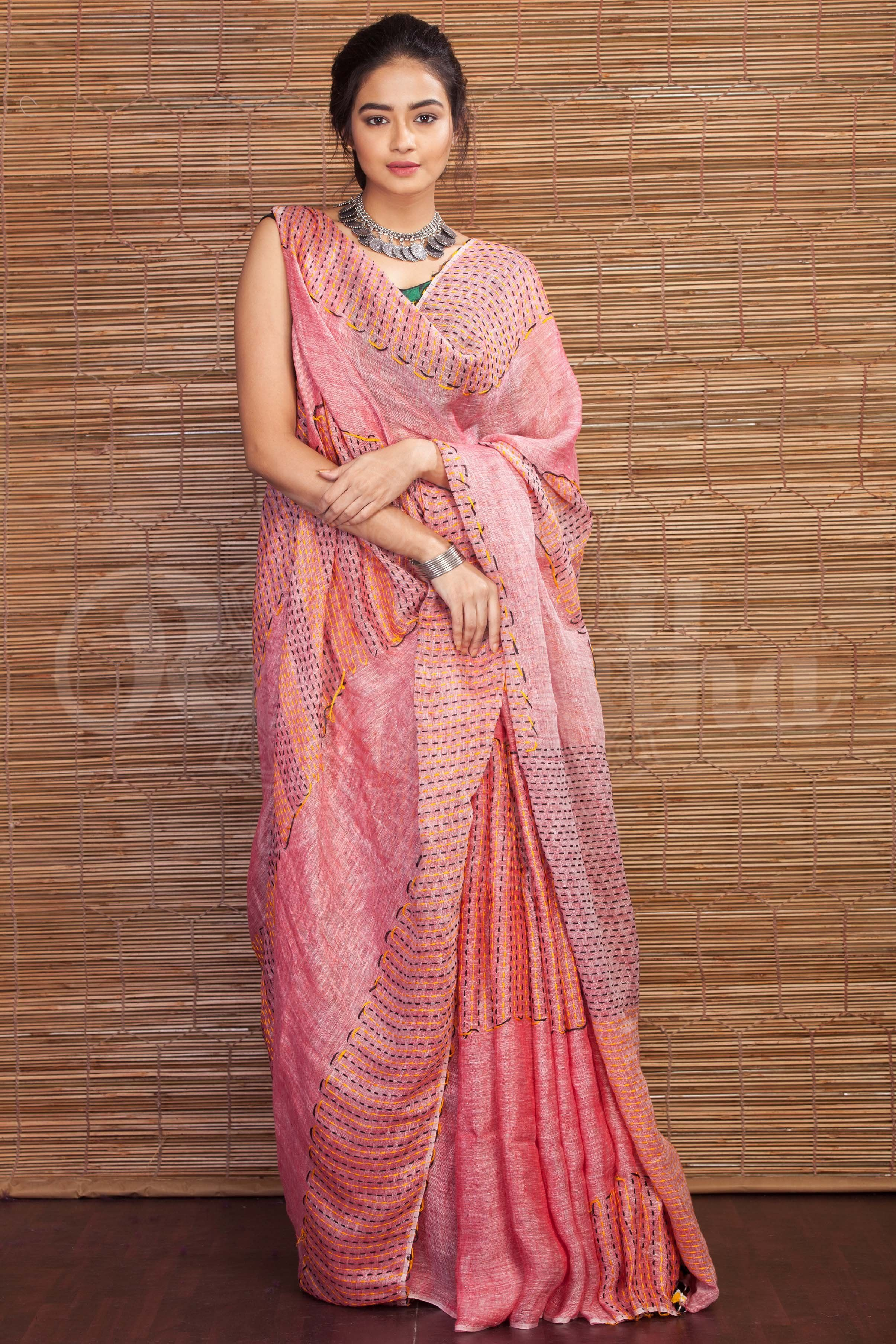 9f7583f717be4 Linen Saree With Thread Stitching - Roopkatha - A Story of Art ...