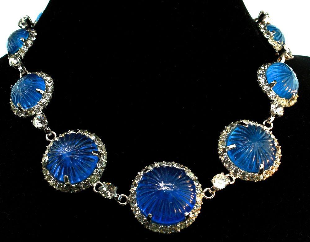 Vtg NETTIE ROSENSTEIN Sterling Periwinkle Blue Molded Glass Rhinestone NECKLACE #NettieRosenstein