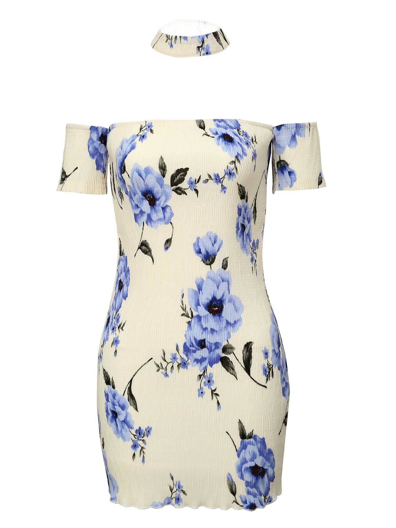 Shop blue and white off the shoulder floral dress online shein shop blue and white off the shoulder floral dress online shein offers blue and white izmirmasajfo