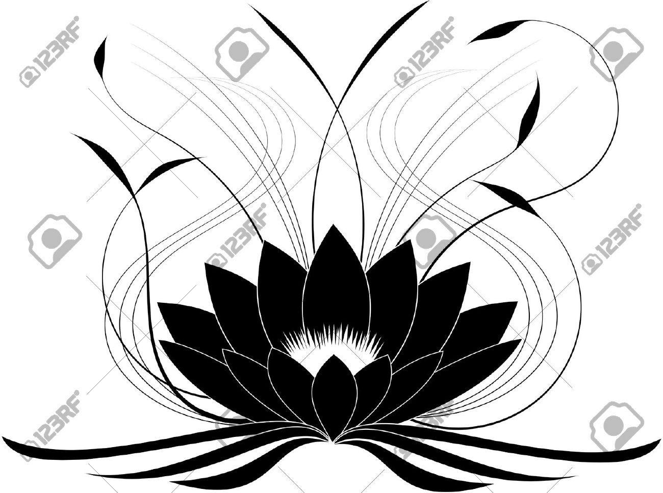 Stock Vector Lotus drawing, Lotus flower tattoo design