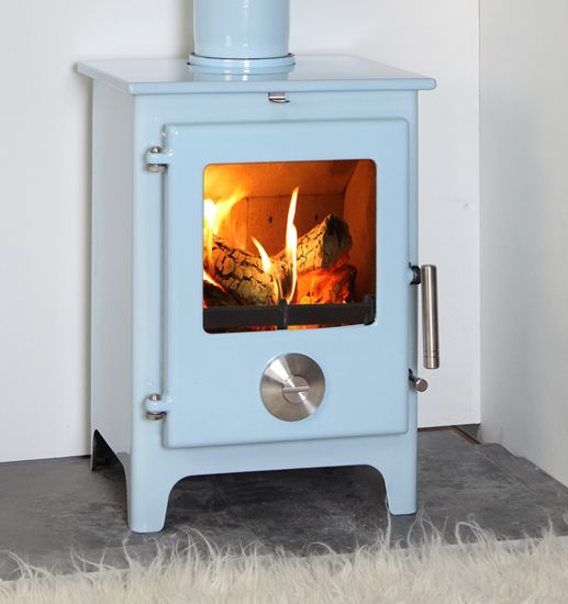 Mendip 5 Multifuel Stove Powder Blue Enamel