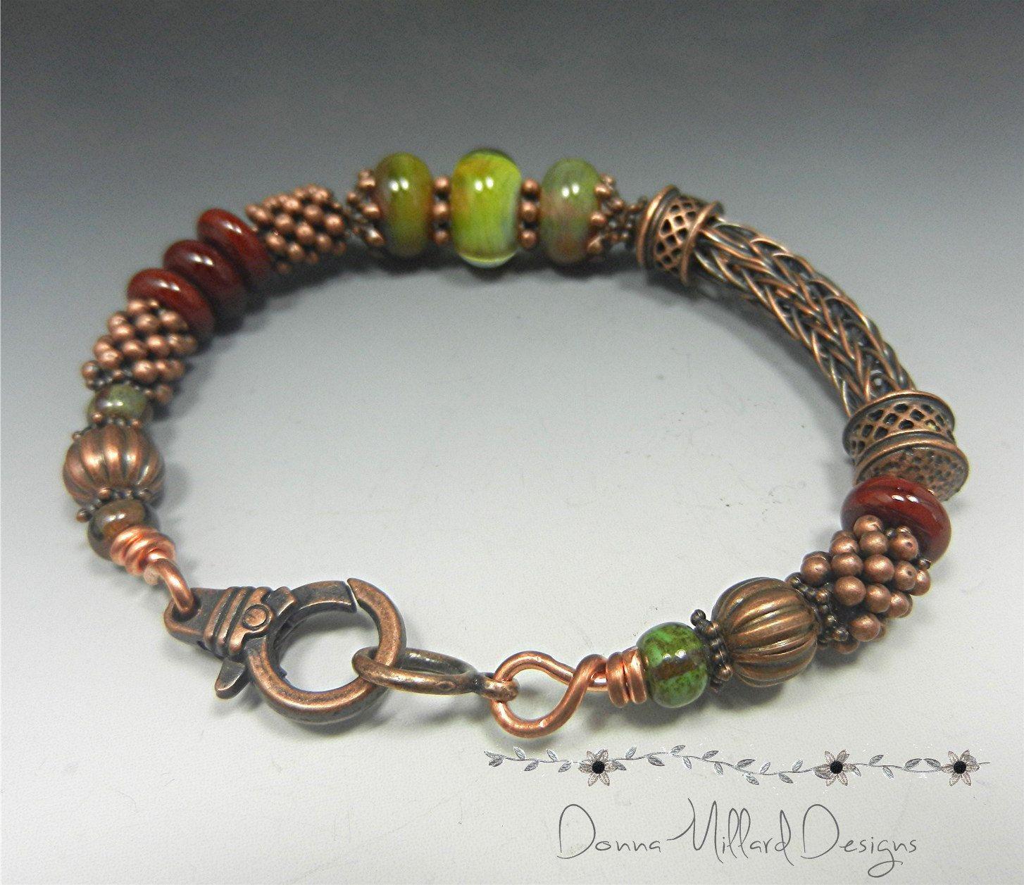 COPPER BRACELET Donna Millard SRA viking knit woven wire gift her ...