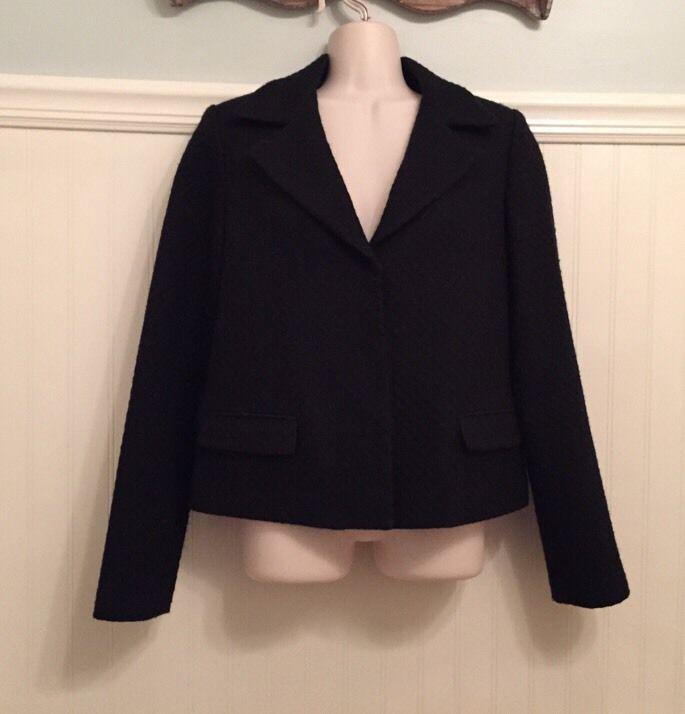 TAHARI Size 6 BLACK Blazer WOOL BLEND Nordstrom TEXTURED