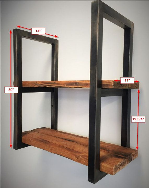 Reclaimed wood and steel shelves en 2019 muebles for Muebles de madera industrial acero