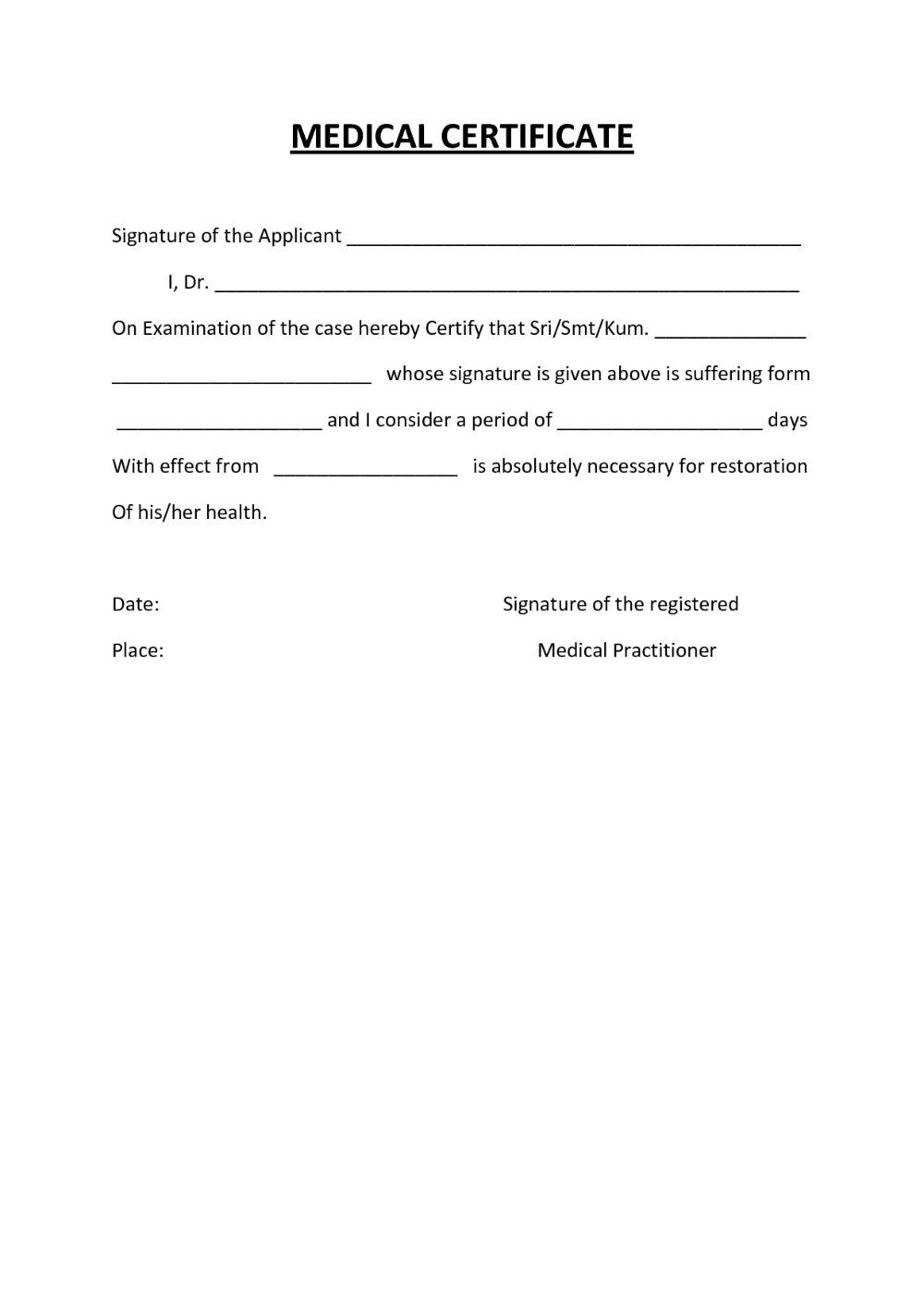 Fake Medical Certificate Template Download in 2020