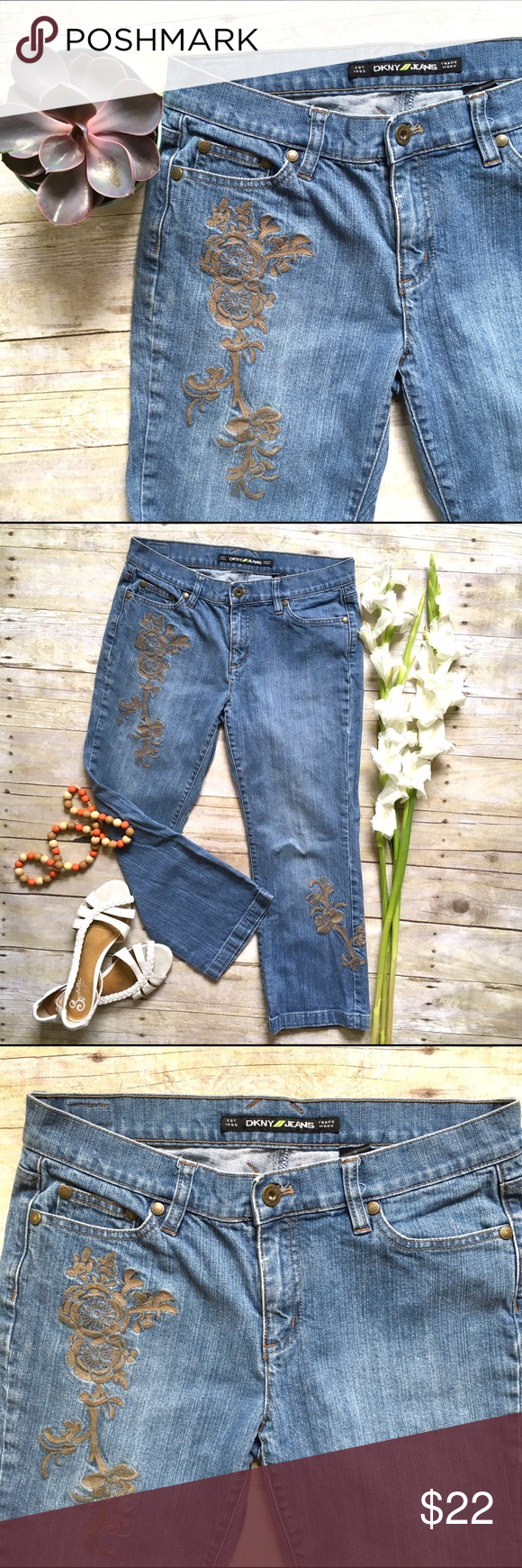 """DKNY embroidered cropped jeans Right on trend, these embroidered jeans are perfect for spring/summer. In excellent condition. 24"""" inseam. 8.5"""" rise. 15"""" waist laying flat. 99/1 cotton, spandex. Size 6. DKNY Jeans Ankle & Cropped"""
