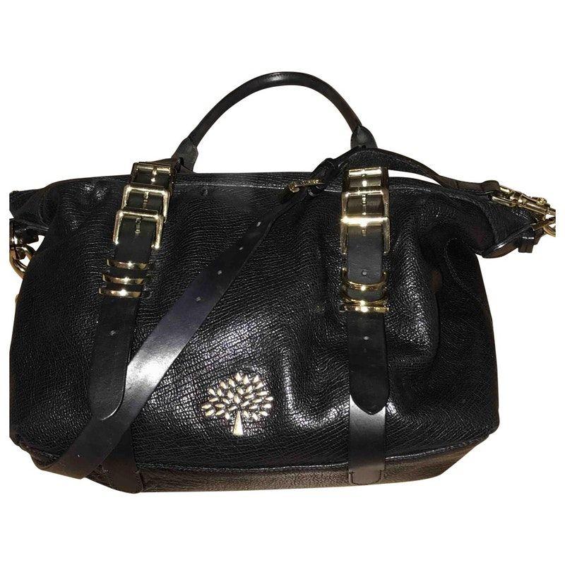 black Plain Leather MULBERRY Mila Handbag - Vestiaire Collective ... 49a084b5ad0d6