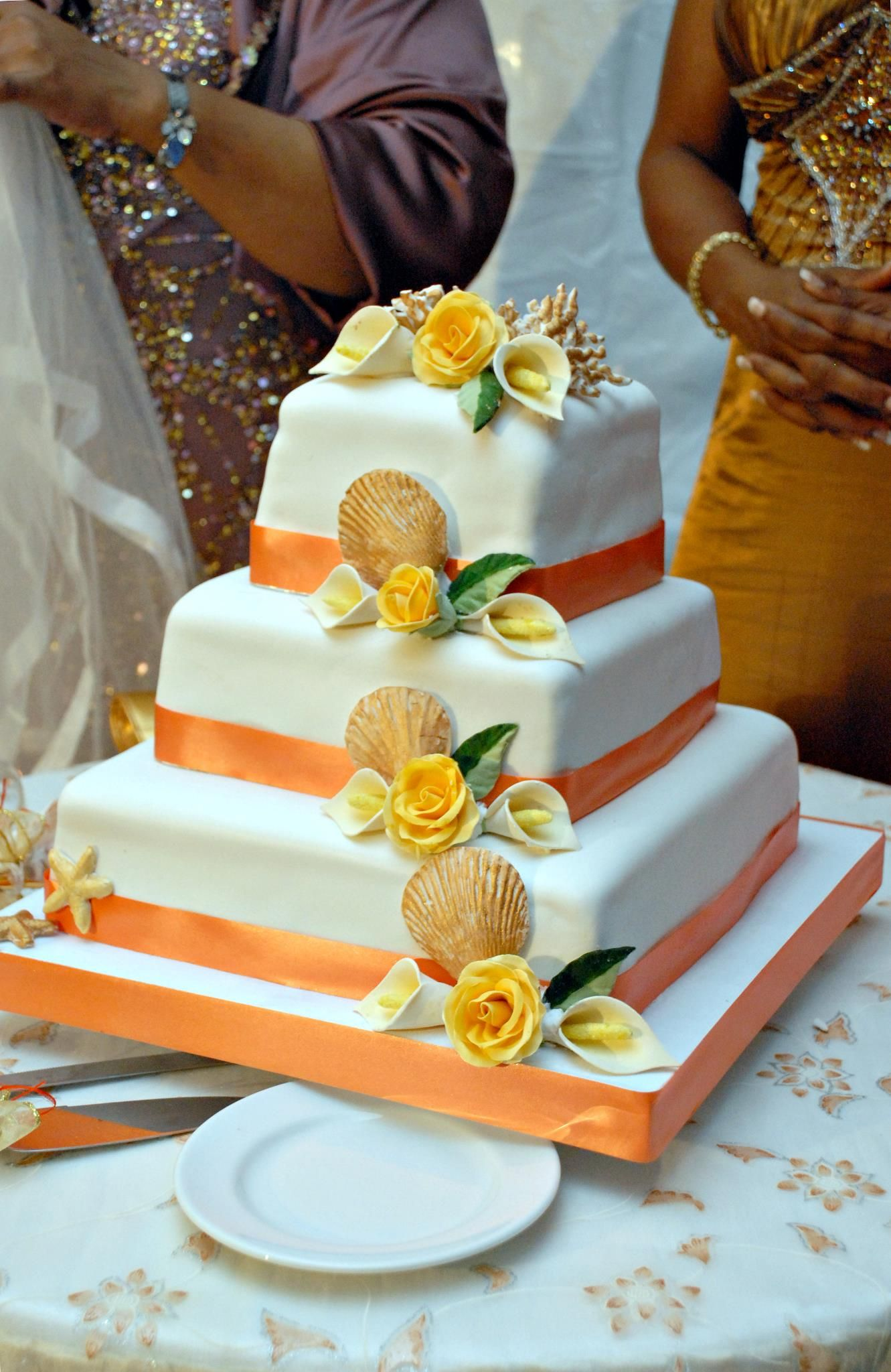 By Helen G Events Wedding Cake Jamaica 3 Tier Wedding Cake Square Wedding Cake Jamaica Wedding Square Wedding Cakes Wedding Cake Peach Wedding Cake Prices