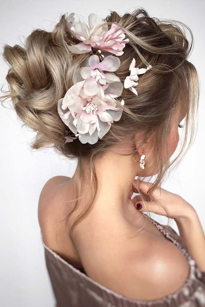 45 Trendy Updo Hairstyles For You To Try , Textured Upstyle With Flowers #updo #mediumhair ...