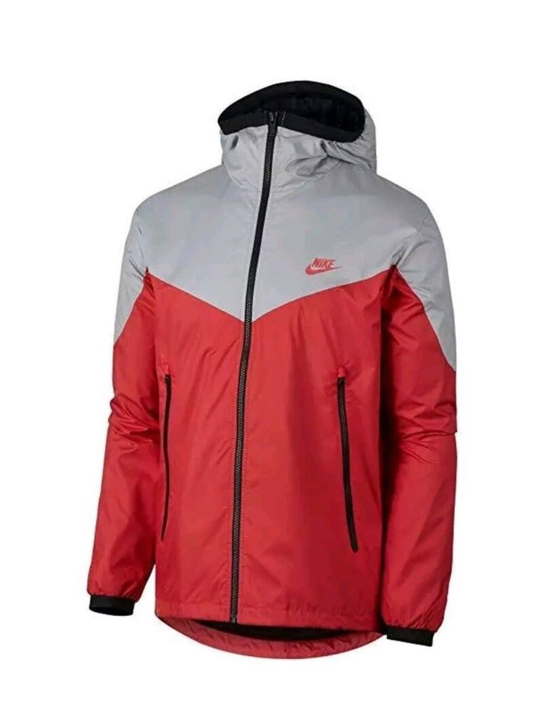 d4f59d492c79 Nike Sportswear Windrunner Jacket Mens L Wolf Grey Track Red Black  Nike   TrackJacket