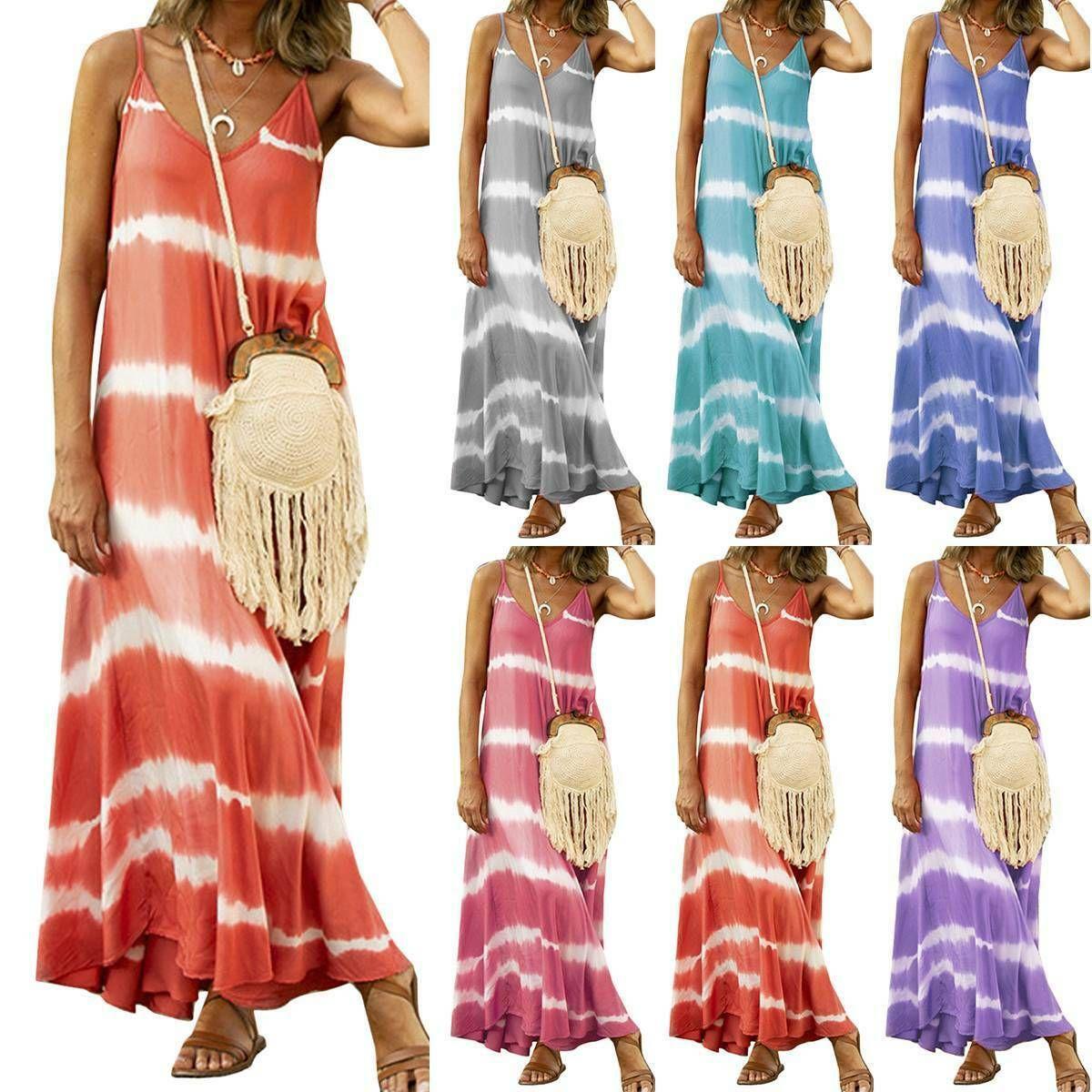 damen tie dye sommer lose maxikleid strandkleid partykleid