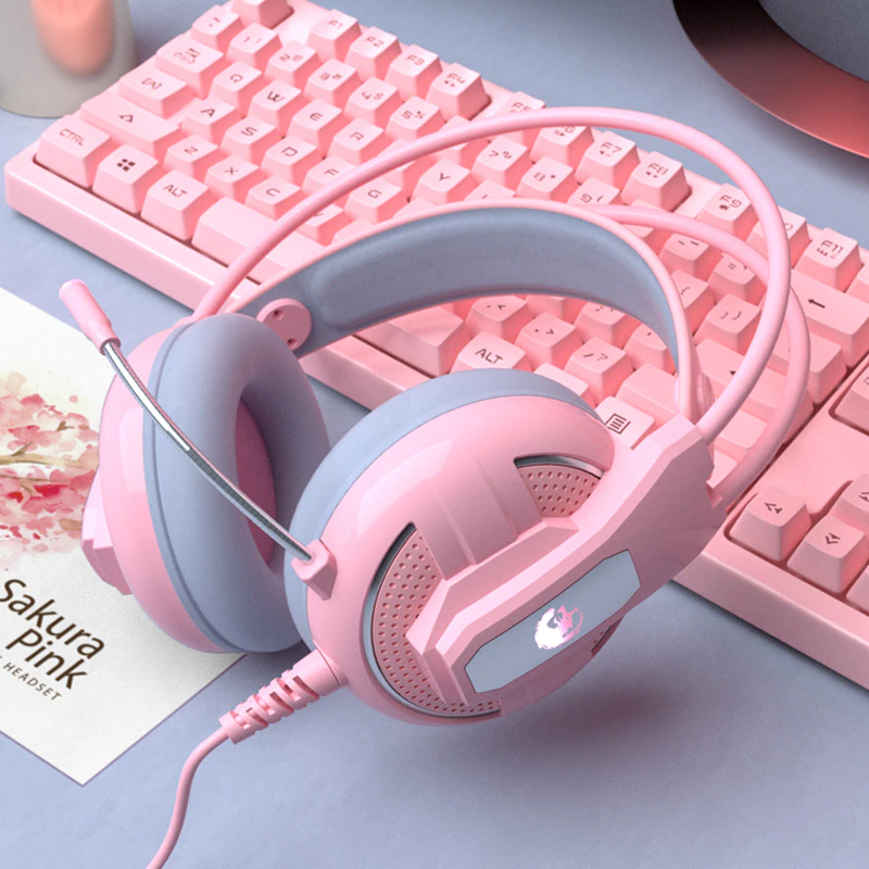 Yulass Gaming Headphones Wired Girl Pink Stereo Large Headphone Noise Canceling Headphone With microphone-in Headphone/Headset from Consumer Electronics on AliExpress