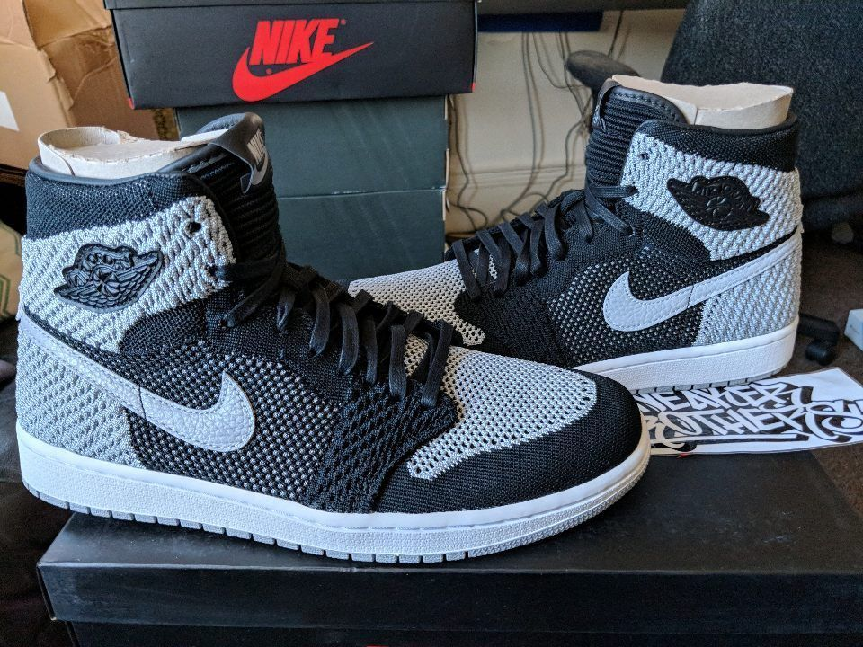 2cc0b02856902 Nike Air Jordan Retro I 1 High Flyknit Shadow Black Grey White 919704-003