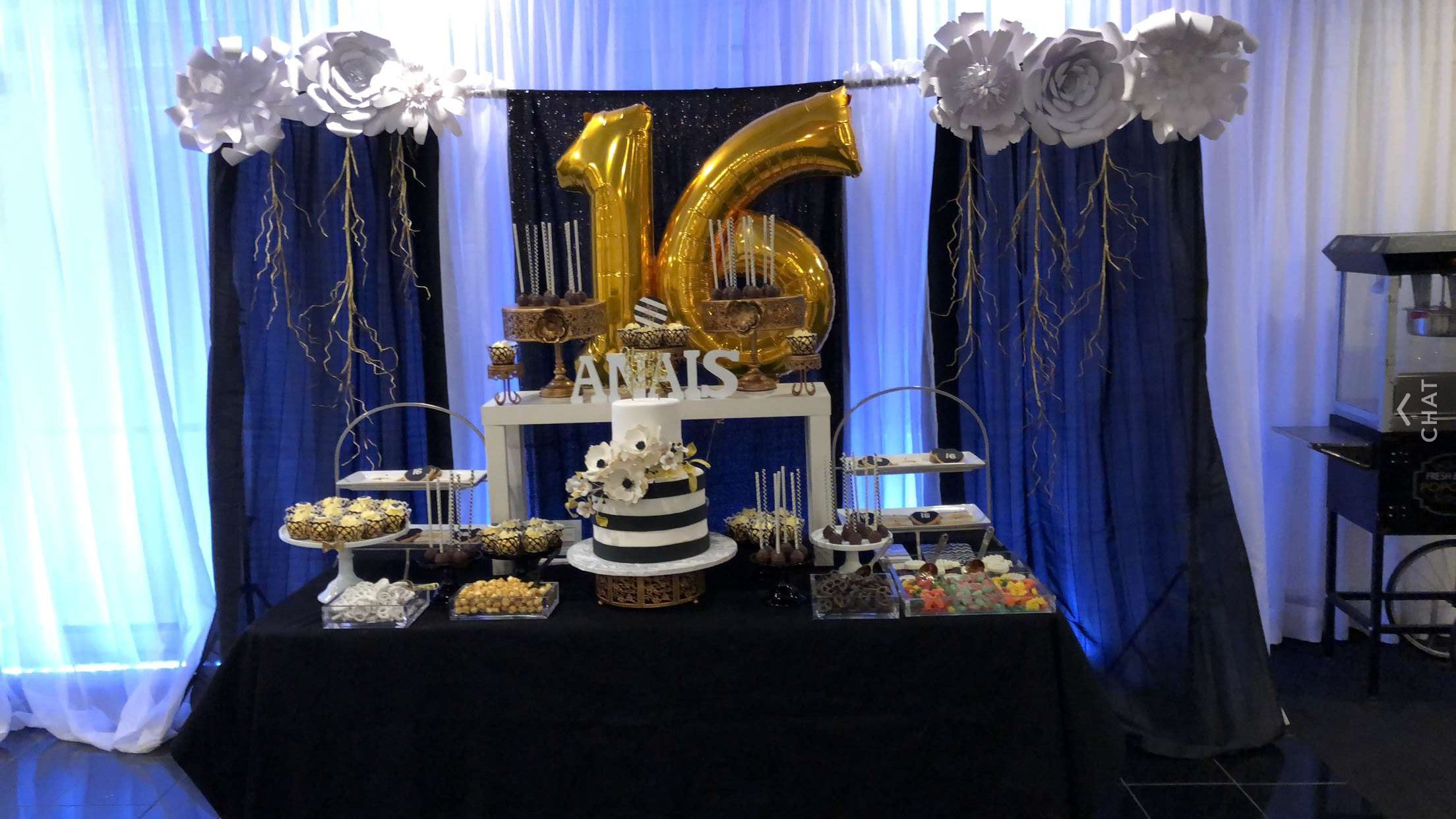 Sweet Sixteen Candy Bar Black White And Gold Theme Sweet