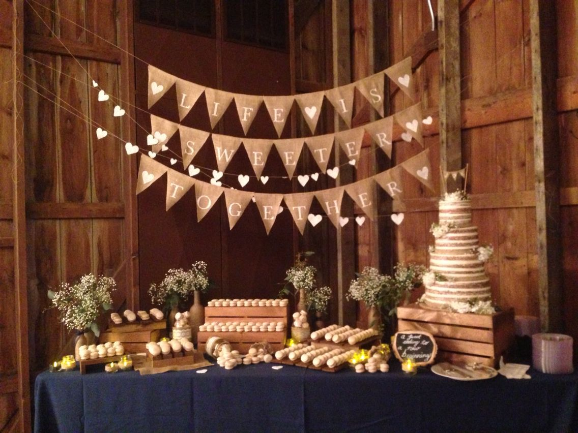 Barn wedding cake table ideas  Barn Wedding French Macarons Naked cake Life is Sweeter Together
