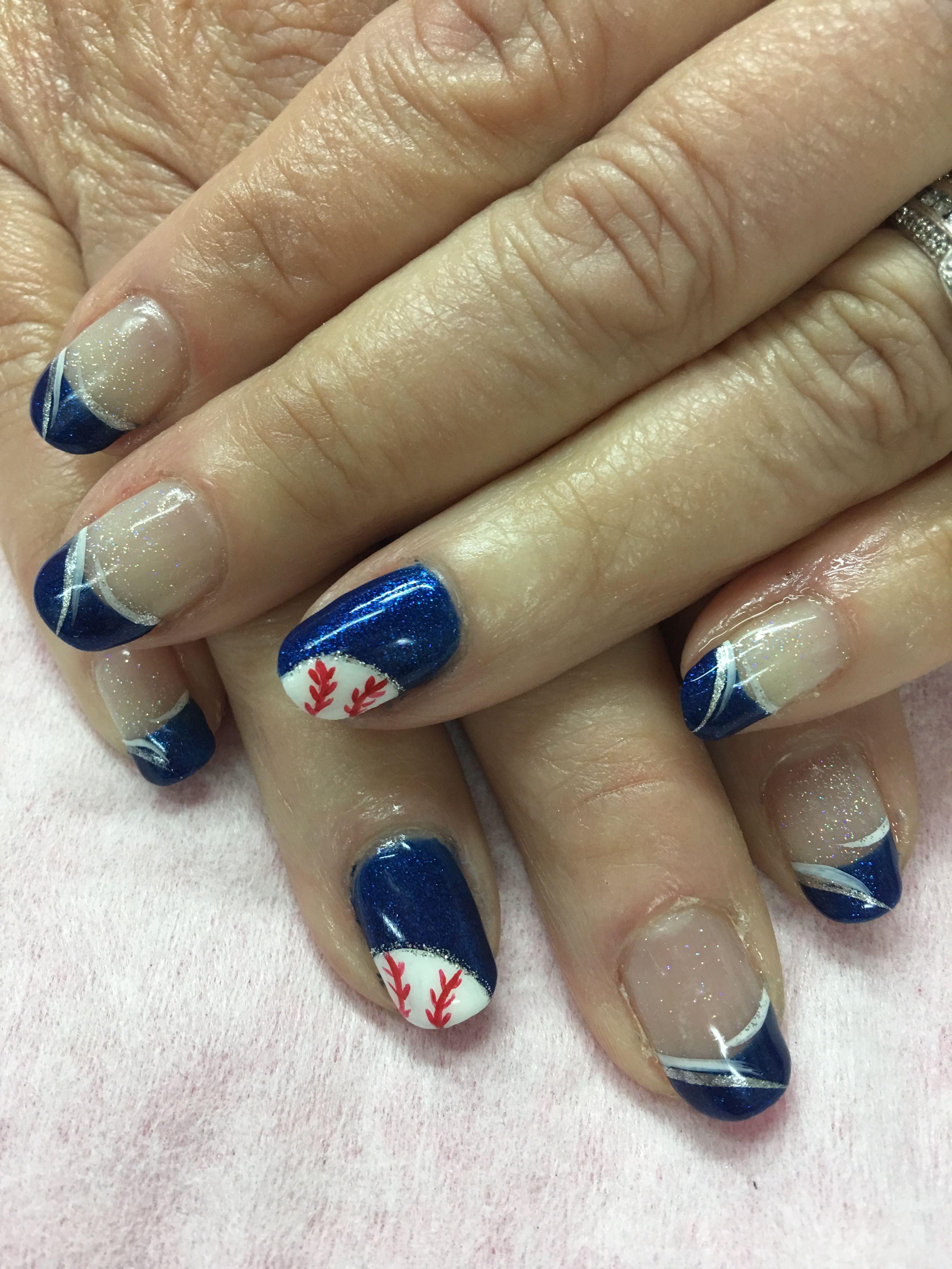 Royal blue Baseball French Gel Nails | Gel Nail designs | Pinterest