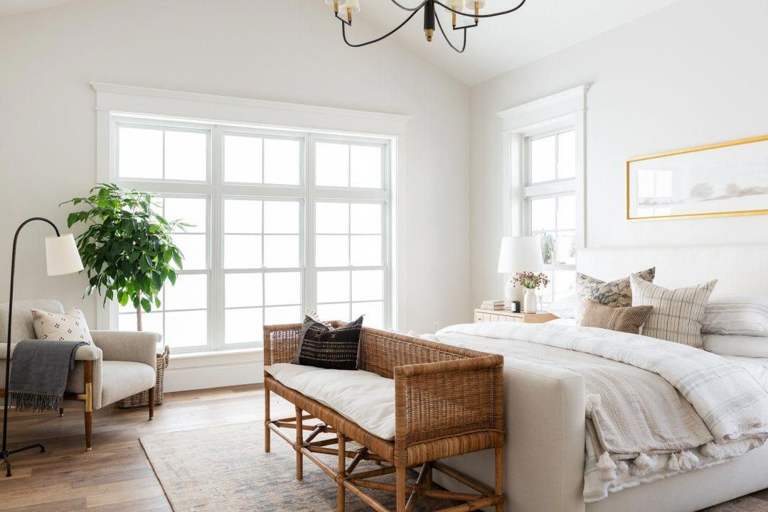 Plant And Reading Light Placement Next To Chair Masterbedroom In 2020 Home Bedroom Design Zen Room