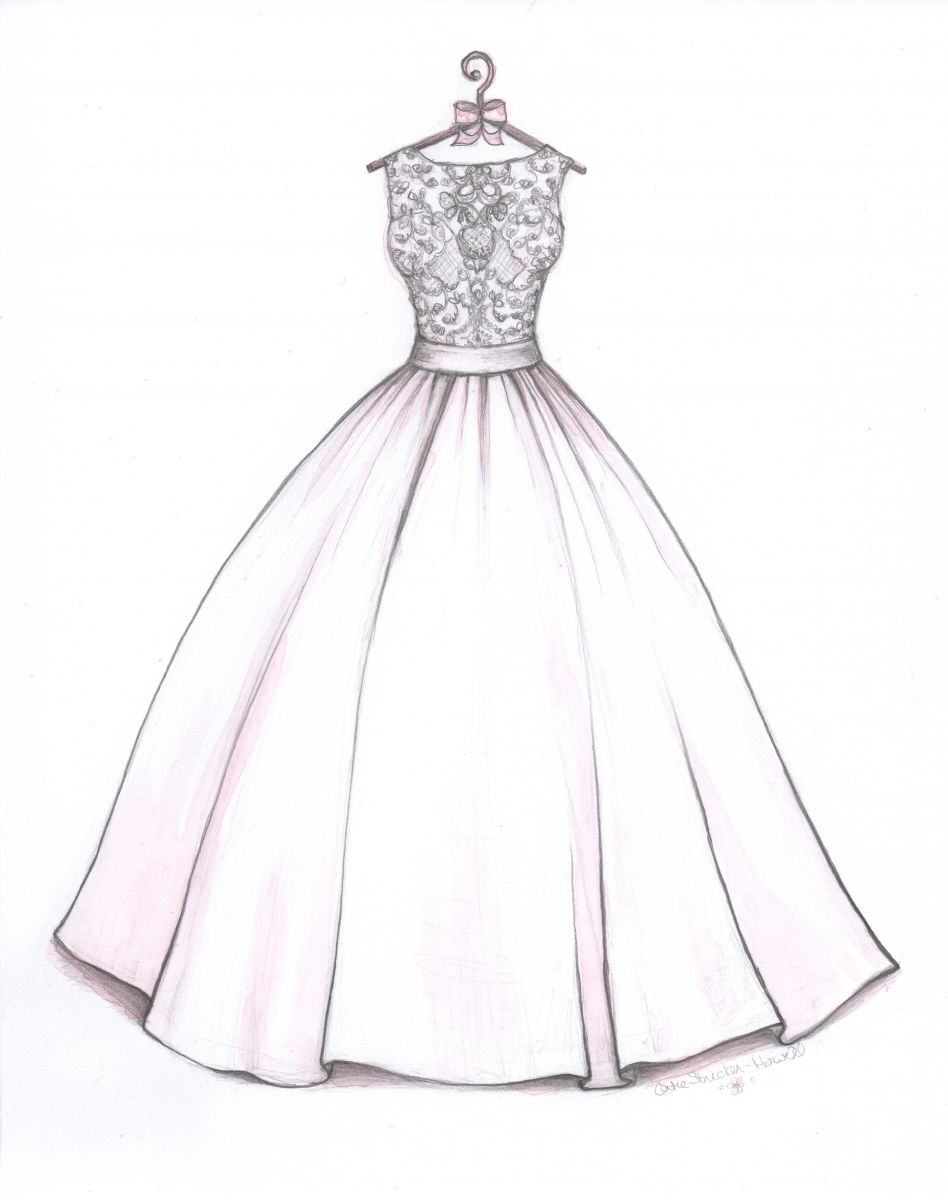 Wedding dress drawing  Ball Gown wedding dress sketch by Catie StrickerHowell Allure