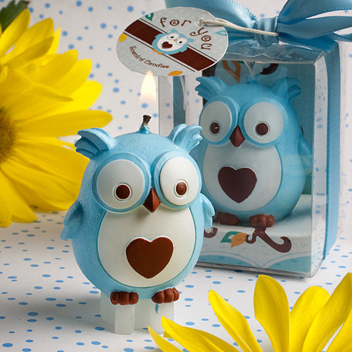 Owl Baby Shower Centerpieces | Adorable Blue Owl Candles Baby Shower Favors