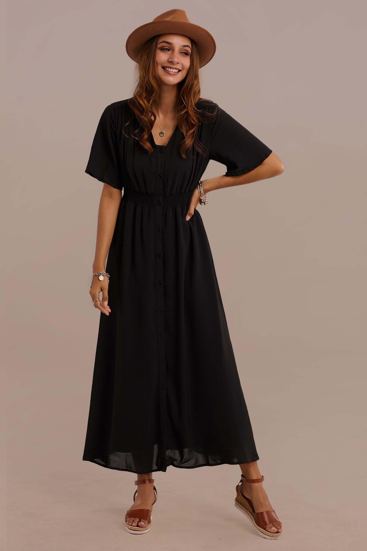 Black Half Sleeves V Neck Polyester Summer Maxi Dress In 2021 Summer Maxi Dress Modest Maxi Dress Half Sleeve Dresses [ 3000 x 2000 Pixel ]