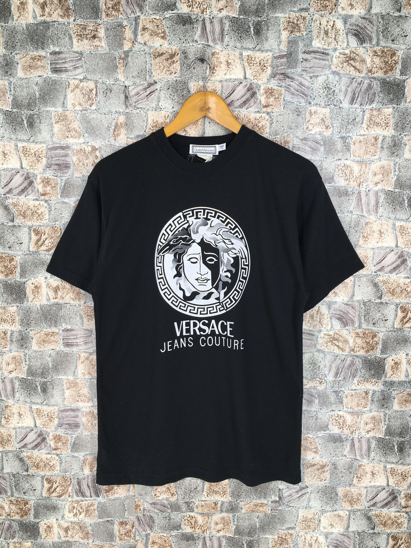 Versace Jeans Couture Medusa Tshirt Medium Black Vintage 1990s Gianni Versace Italy Versace Medusa Baroque Printed Black T Shirt Size M Versace Jeans Couture Versace Jeans Versace