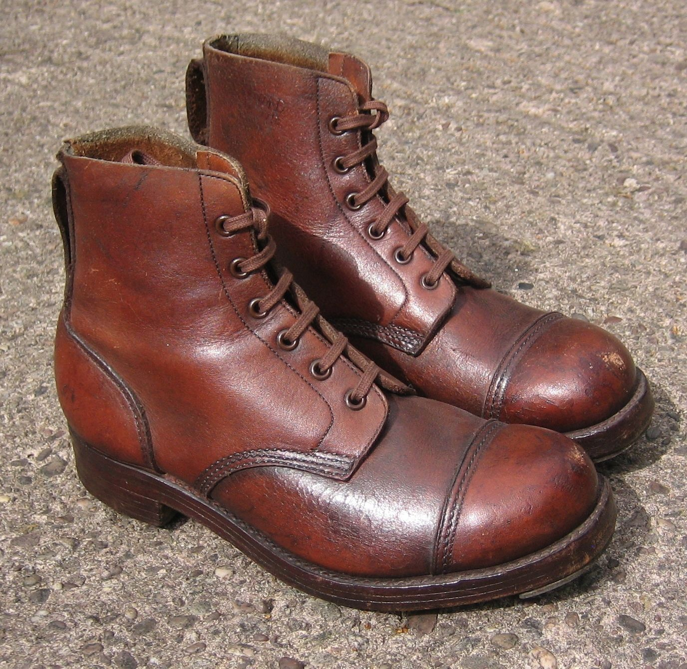 Vintage ww2 #british army brown leather jungle boots, 7l, ankle #william #lennon,  View more on the LINK: http://www.zeppy.io/product/gb/2/201667237141/