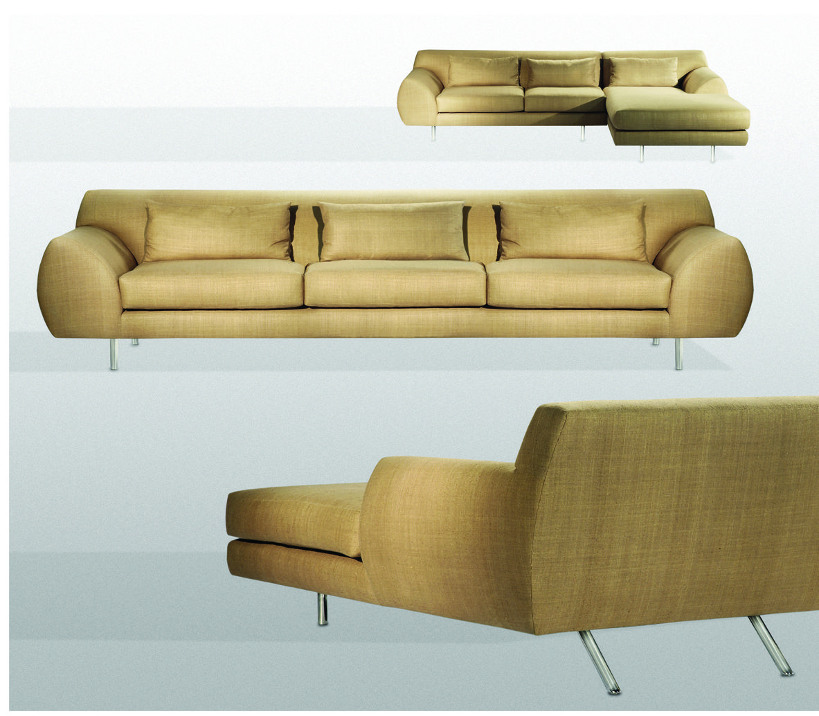 Brueton Arigato The subtle yet precise upholstered lines on this seating series are defined by the shapely arms that wrap around the softly curved exterior body, enveloping the soft, inviting cushioned interior. Supported by polished stainless steel legs, Arigato is available in a multitude of configured sectionals as well as two, three, or four seat sofas and chaise lounge.