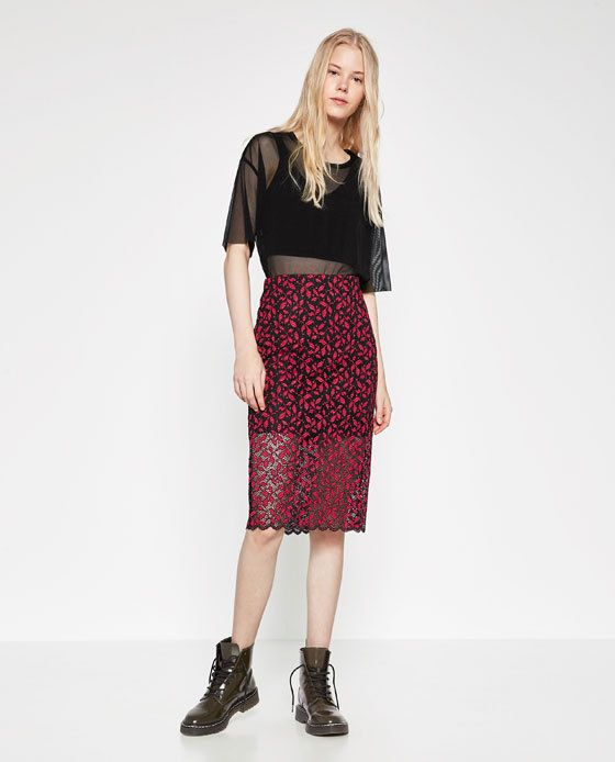 0510a303a7b ZARA BLACK RED MIDI SCALLOPED STRETCHED LACE SKIRT SEXY BLOGGERS FAVORITE  MIXED