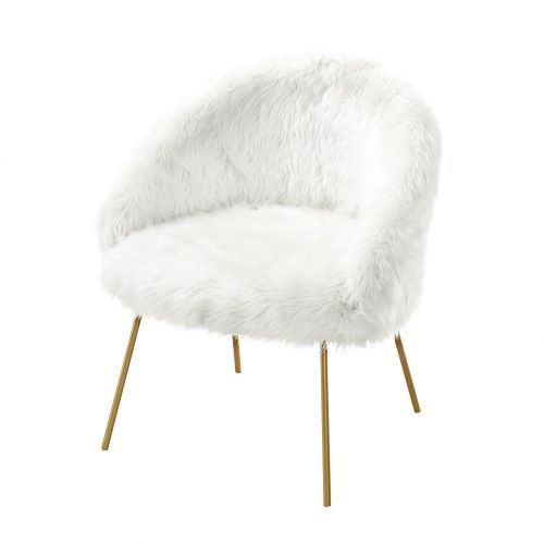 Awe Inspiring Inspired Home Giovana Faux Fur Gold Powder Coated Metal Leg Evergreenethics Interior Chair Design Evergreenethicsorg