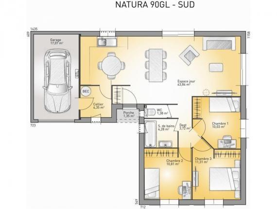 Modèle de maison Natura 90 L (LR)  Photo 1 Maison Pinterest - Plan Maison En Longueur