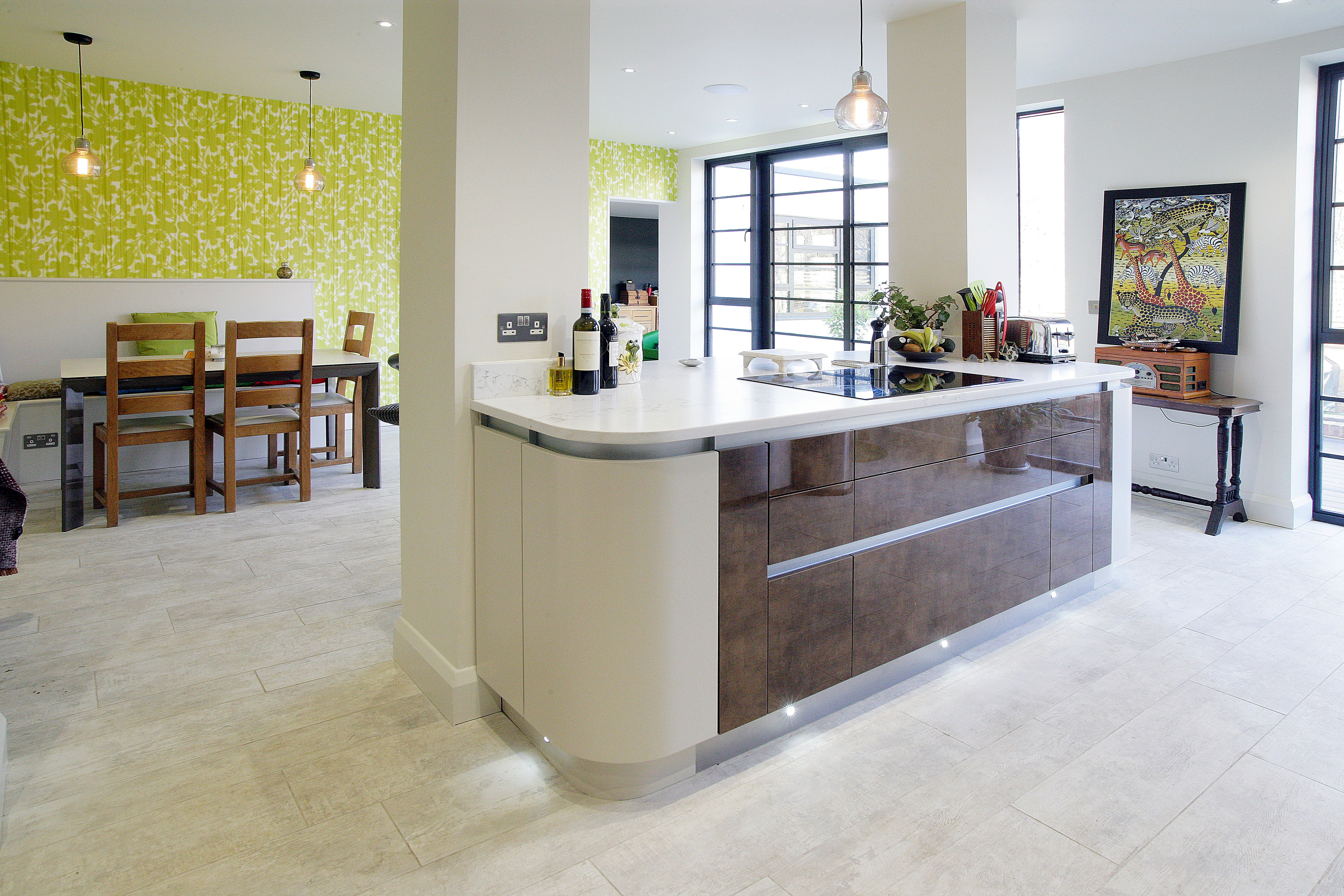 kitchen island curves opening up structure