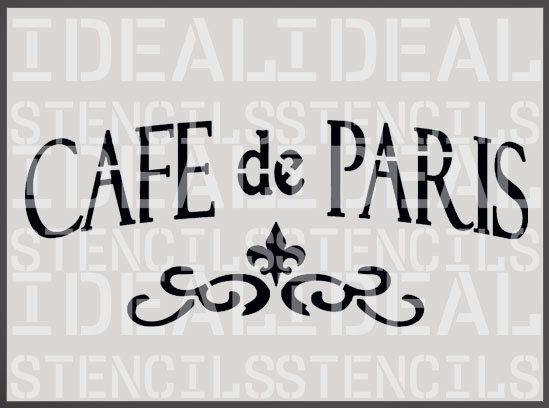 Café de PARIS au pochoir, français, shabby chic vintage, pochoir