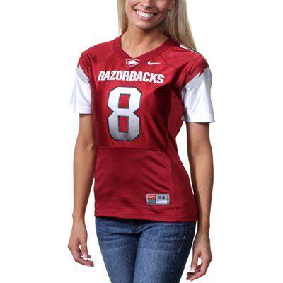 Nike Arkansas Razorbacks #8 Women's Replica Football Jersey -  Cardinal/White | Arkansas apparel, Arkansas razorbacks, Razorback shirt