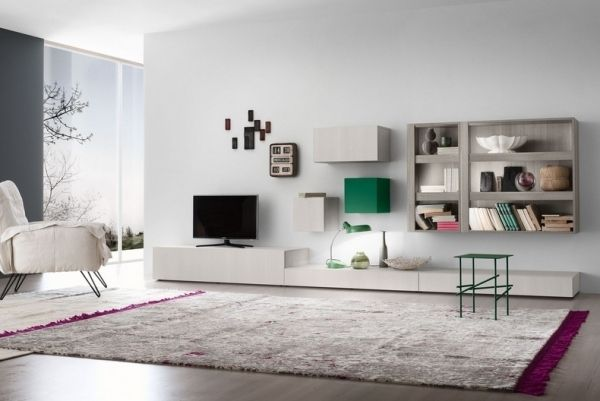 modernes Wohnzimmer-weiße Möbel-Teppichboden-Wohnwand mit Sideboard ...