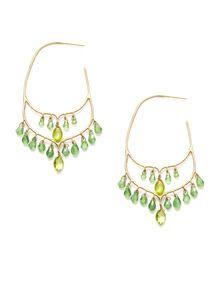 Taj Green Garnet and Peridot Hoop Earrings