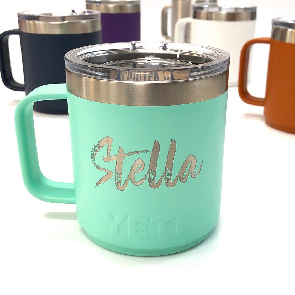 Personalized, engraved names on YETI 10oz Stackable coffee