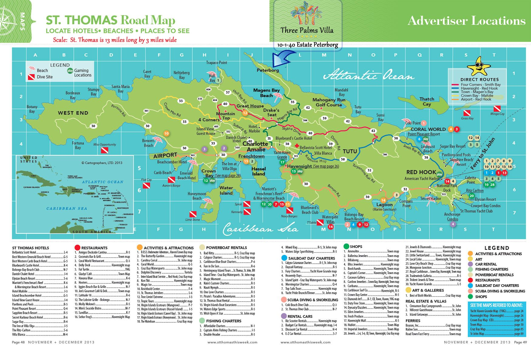 nice map of beaches hotels and attractions